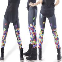 Free shipping Sexy Stretchy Print tetris Women Sexy Leggings Lady's Trousers -WZ084