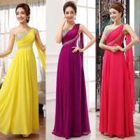 2014 new sweet slim one shoulder evening dress female long design plus size party dress long chiffon sleeveless evening gown