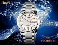 New SKmei Men Full Steel Fashion Casual Business Quartz Watch Unisex 30m Waterproof Analog Watches Male Clock Dress Wristwatches
