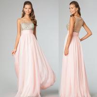 2014 fashion long dress transparent gauze sexy chiffon evening dress banquet formal dress party gown