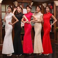 2014 new women's long bride wedding dress red wedding toast clothing vintage lace wedding dress
