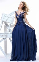 Free Shipping 2014 new A-line Elegant Royal Blue Scoop Empire Floor-length long chiffon slim  Evening Dress