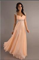 Free shipping A-Line Sweetheart Elegant  Waist Beads customize Long Chiffon party prom Evening Dress