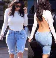 Europe Large Size Ebay Hot Fashion Autumn 2014 New Women Celebrity T-shirts Sexy Backless Kim Kardashian White Cotton Tops