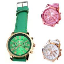 2014 New Scolour New Women's Fashion Roman Numerals Faux Leather Analog Quartz Wrist Watch Free shipping&Wholesale(China (Mainland))