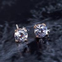 Fashion Jewelry Zircon Zirconia Earrings 925 Needle fungus Miss Shi Erhuan 18K