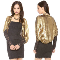 Fashion Women Sexy Sequins Gold Sparkle Bolero Casual Half Sleeve Batwing Shawl Cape Crop Top  Party Evening Jacket Coat