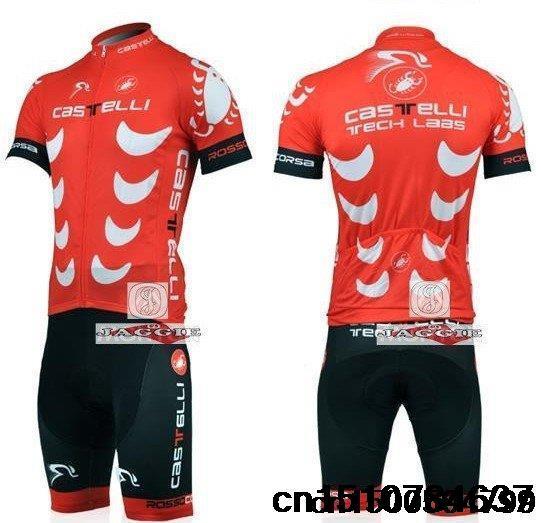 Кастелли красные короткие Велоспорт команды Джерси