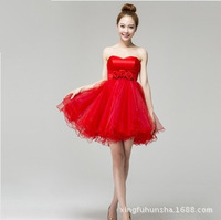 RED strapless sweetheart buildin Bra princess mini tutu dress girls party dress wholesale bridesmaid dress