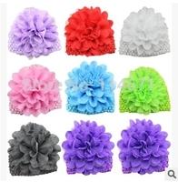 Free Shipping (10pcs/Lot) 2014 Autumn And Winter Children's Caps Korean Silk Chiffon Flower Mesh Caps Childen's Knitted Hat