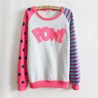 Pow!flocking letters fleece inside sweatshirts big dot and stripe sleeve nice design women hoodies 4 color