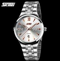 Hot Original SKmei Men Full Steel Quartz Watch 30M Waterproof Fashion Calendar Watch watches men luxury brand Free Shipping