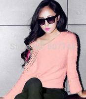 Hitz Korean hook flower hollow sleeve head loose knit sweater hippocampal Mao Maoyi female backing