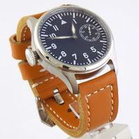 Details about 47MM PARNIS luminous mark @3 MECHANICAL 6497 movement mens brown strap watch 206