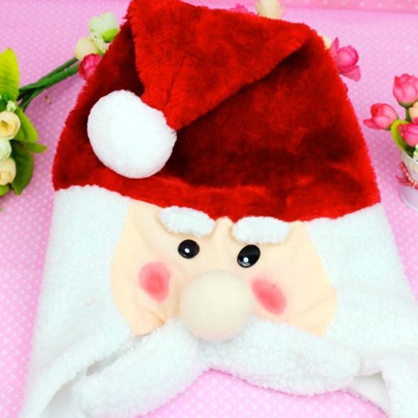 D299 Free shipping selling plush santa clause snowman hat with braids christmas decoration enfeites de natal 5pcs/lot(China (Mainland))