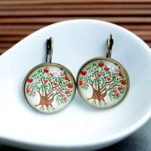 Fashion New 2014 Life Wisedom Tree Stud Earring For Women Glass Cabachon Bezel Brincos Perola Art