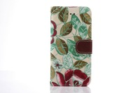 Iphone6 flower wove latest clamshell mobile phone sleeve with a Photo Wallet hand rope