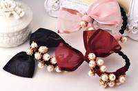 2014 new Korean fashion personality wild sweet romantic temperament chiffon bow pearl hair accessories   F7067