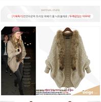 2014 new autumn/winter fashion women knit cardigan cloak shawl bat-like shirt  raccoon fur collar loose sweater 8