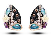TIANSHE 2014 new brand Retro pearl jewelry,high quality handmade luxury austrian crystal butterfly stud earrings for women,997
