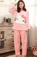 Women Flannel Pajamas set Cartoon Pyjama Polka suit Costumes Adult Garment Cute Cartoon Kitty Pajamas Keep Warm in Winter W-426