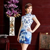 Blue and white national wind summer new Slim elegant fashion cheongsam improved cheongsam daily improvement authentic Z