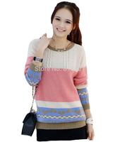 2014 Winter Women Sweater New Pullovers Autumn Fashion Turtleneck Womens Sweaters Stitching Loose Peach Heart Design Coat Female