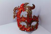 Men and women dance Princess mask lace Rhinestone Venice mask painted lady Phoenix red mask