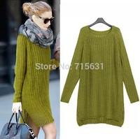 2014 New Arrival Fashion Women Winter Long Knit Dress 4 Colour Free Size Long-Sleeved Ladies Crochet Knit Dresses