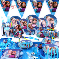 Free shipping!!Child birthday Frozen  Anna Elsa party supplies,plate+hat+cup+mask+table cloth etc 86 items for 6 children gift
