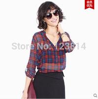 Women Clothing Casual Chiffon Blouse Mid-Long Vintage Classic Red Blue Plaid V-Nec Long Sleeve Loose Slim CC Shirts Blusa D567
