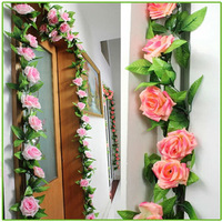 2x Artificial Flowers  Rose Vines 2.4m Silk Flower Garland Home Wall Party Decoration Sitting RoomGreen Leaf Vine