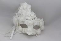 Venice masquerade mask  Halloween Horror simulation mask Lace White princess mask men and women mask