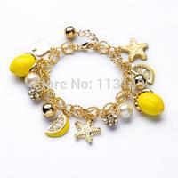 Fashion Famous Brand JC Same Design Women's Mango Lemon Fruit Yellow Starfish Metal Chain Charm Bracelet For Girls PSB-S034