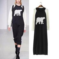 Women Autumn spring winter basic dresses New Modern Fashion Long Polar print Bear Knitwear Cardigan sweater Dress vestido
