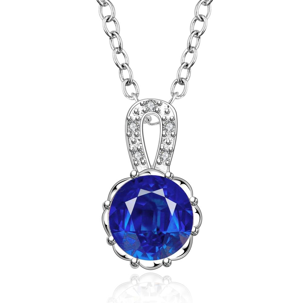 18inch women elegant zircon jewelry 925 siver beautiful blue crystal pendant necklace wholesale XL1162(China (Mainland))