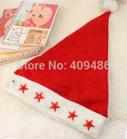 3PCS/LOT 37X27CM Christmas Cap Men women Star Light Luminous Hat Xmas Hat Christma Gift Red Free shipping MZ29
