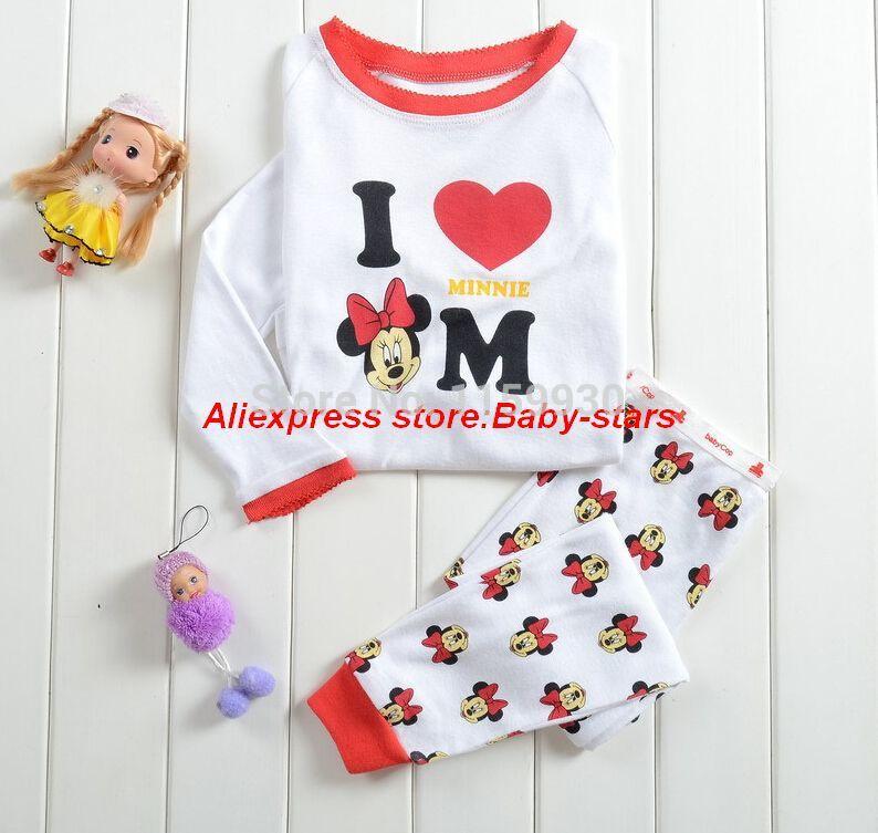 children kids pajamas minnie mouse sleepwear clothes sets cotton cartoon pajama girls clothing set Professional Store(China (Mainland))