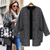 Hot selling New Single-breasted Boyfriend Wool Blends Outwear Women Winter Trench Coat Jacket  Fashion Styles