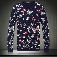 2014 Brand New Autumn Men's Clothing O-neck Sweater Butterfly Floral Print Casual Knitted Slim Fit Men Sweater,Plus Size 3XL