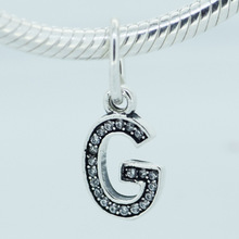 Fits Pandora Charms Bracelet 100% 925 Sterling Silver Dangle Bead Sparking Letter G Women Charm DIY Jewelry Drop shipping