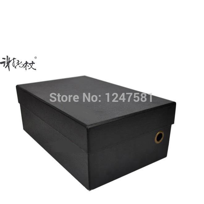 Customized elegant black shoe packing box with printing service Hot recycled cheap cardboard shoe box wholesale(China (Mainland))