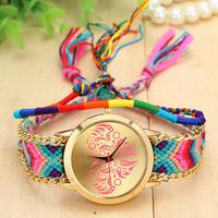 7 Colors New Fashion Brand Handmade Rope Bracelet Women Watch Geneva Hand-Woven Watch Ladies Quarzt Watch AW-SB-1151