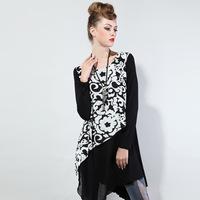 Women Fashion Floral Printing Irregular Hem Dress  Brand Mid-Calf Length Girls O-neck vestidos
