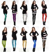 2014 New Fashion Women Faux Leather Leggings Sexy Mid-Waist Fitness Shiny Neon Leggins Pencil Pants Candy Color Hot Sale L31