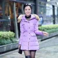 Free Shipping high quality solid fashion slim zipper thick simulation fur collar full sleeve ladies warm leisure down