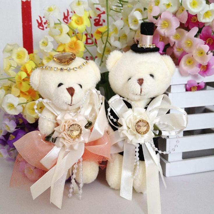 New Arrival High Quality Cute Little Dress Diamond Couple Bears Stuffed Plush Doll Toy Wedding Bears Gift 12pcs/lot 11-12cm(China (Mainland))