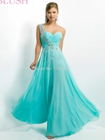 2014New Arrival Sweetheart One Shoulder Crystal Blue Light Champagne Long Chiffon Formal Evening Dresses long party gowns  W192