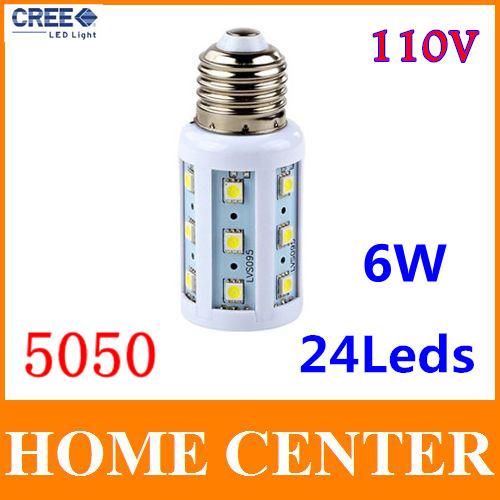 110V E27 Led SMD 5050 6W 24leds Corn Bulb Led Lamp warm white cold white bulb with tracking number(China (Mainland))