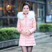 Free Shipping high quality solid fashion slim zipper thick simulation fur collar full sleeve warm leisure ladies down